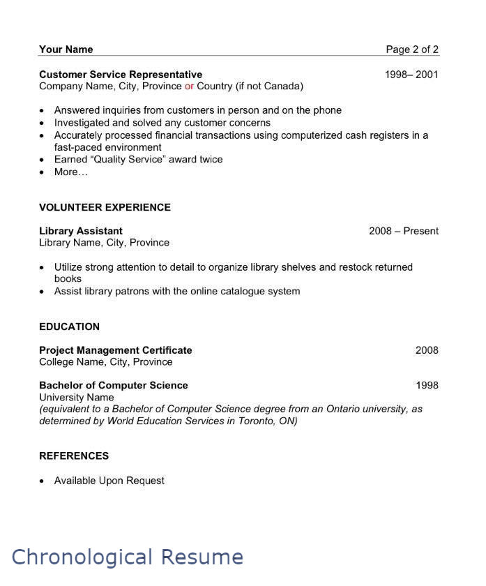 Sample Chronological Resume Page   Filipino Portal In Canada